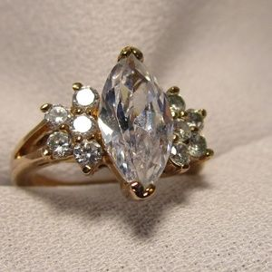 Classic Marquis Cut CZ Gold Ring